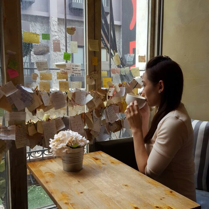Having a moment in Myeong-dong Poem cafe :)